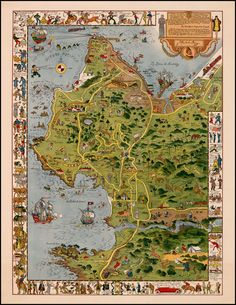 Spanish Main South America Whimsical Pictorial Map Wall Poster Vintage Jo Mora