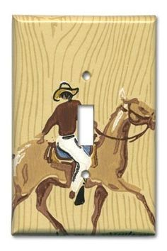 Western Cowboy 1950s Vintage Wallpaper Switch Plate via Etsy