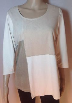 75874ffaa6afe New Directions Women s Size Small Beige Cream Top Shirt 3 4 Sleeves   fashion