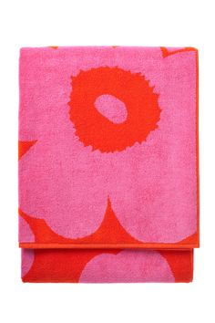 Marimekko Beach Towel in pink and red floral