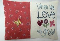 Love Mini Pillow Cross Stitch Shelf Pillow by luvinstitchin4u