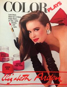 "Elizabeth Arden ""Color Plays"" Makeup Ad, 1984 Vintage Glam, Vintage Beauty, 80s Ads, Makeup Ads, Beauty Ad, Cosmetic Packaging, Have Fun, Blush, Lips"
