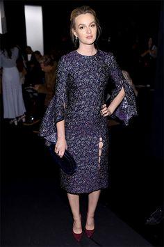 Leighton Meester at tha Prabal Gurung Fashion Show, wearing a Prabal Gurung dress https://api.shopstyle.com/action/apiVisitRetailer?url=https%3A%2F%2Fwww.modaoperandi.com%2Fprabal-gurung-pf17%2Fruffle-sleeve-sheath-dress%3Fmid%3D37385%26siteID%3DZ77QPydcorE-oopC0HCt5xk0eaJkoMEiUQ%26utm_content%3DZ77QPydcorE%26utm_medium%3DLinkshare%26utm_source%3DZ77QPydcorE&pid=uid7729-3100527-84. #style #celebstyle #prabalgurung