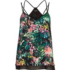 River Island Black abstract tropical print cami top (170 ARS) ❤ liked on Polyvore