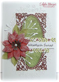 Poinsettia with greenery - christmas card - Scrapbook.com