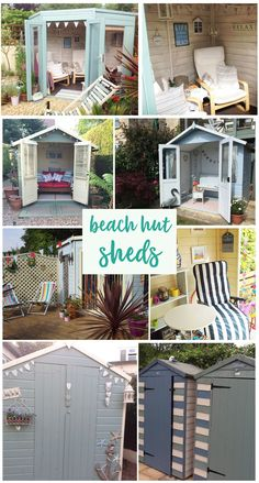 a touch of the coast to your back garden with a beach hut themed shed. Paint your shed nautical colours, add seaside decorations and deck chairs. Beach Theme Garden, Beach Hut Decor, Seaside Garden, Seaside Decor, Summer Sheds, Summer House Garden, Summer Houses, Beach Hut Shed, Beach House