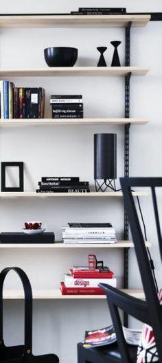 Original black Inga™ candle holder by freemover.se Maria L Dahlberg in Norrgavel shelf Interior Design Boards, Best Interior Design, Interior Styling, Interior Decorating, Room Inspiration, Interior Inspiration, Elfa Shelving, Simple Living Room, Office Walls