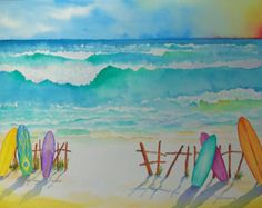 Tropical Watercolor Paintings  by TropicalWatercolor on Etsy