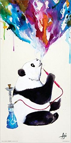Marc Allante Panda Smoking a Hookah Modern Contemporary Animal Decorative Art Poster Print, Rolled 12 by This poster features a modern art image of a Panda Bear smoking a hookah, blowing water color style smoke, by artist Marc Allante. Art Watercolor, Panda Art, Kunst Poster, Poster Prints, Art Prints, Art Posters, Canvas Prints, Animal Paintings, Color Splash