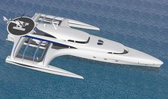 Subsee concept yacht is a trimaran explorer yacht designed for leisure purposes. This long traveling yacht is operated with integrated lifting system, it's a yacht specifically designed for exploration trips on dramatic dive locations.