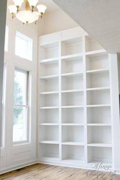 Super tall built-in bookshelves.   http://sawdustdiaries.com