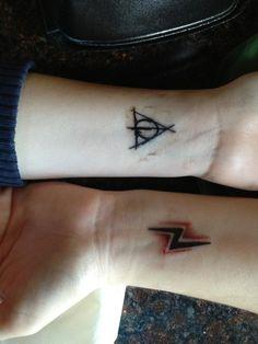 4th tattoo (deathy hallows) and ashley's lightning bolt