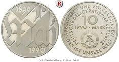RITTER DDR, 10 Mark 1990, 1. Mai, J. 1637, PP #coins #numismatics
