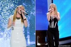 Hollie Cavanagh in a white shimmer Twenty Cluny dress, American Idol Top 9