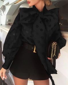 Dot Hollow Out Lantern Sleeve Knotted Blouse - Queen Outfits Fashion Mode, Fashion Outfits, Womens Fashion, Style Fashion, Vogue Fashion, Asian Fashion, Fashion Ideas, Elegantes Outfit Frau, Mode Bcbg