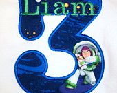 Divababies- Personalized Toy Story Buzz Lightyear Birthday Shirt-Buzz Appliqued Shirt