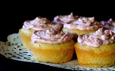 Fluffy Low-sugar Raspberry Lemon Cupcakes  156 Calories  3.75 grams of sugar  http://lesssugarnaturally.blogspot.ca