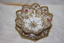 Vintage Nippon ORNATE GOLD Painted Roses Pierced Strawberry Serving Bowl & Plate