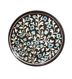 Decorative Black Plate With Blue Flowers