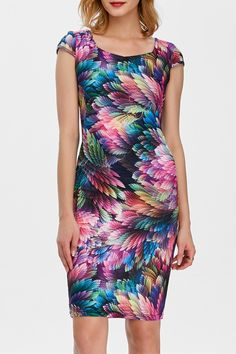 $14.82 Square Neck Feather Printed Dress