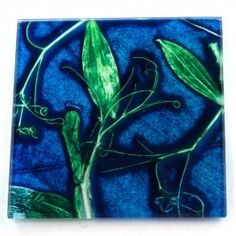 Gillian Arnold Blue Sweet Curves Glass Coaster