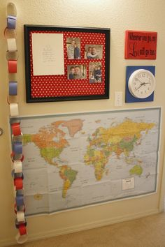 Deployment Wall: countdown chain, world map, clock set to Dad's time zone, bulletin board for pictures and postcards