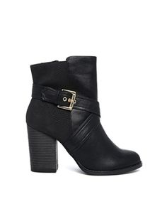 New Look Bankle Black Heeled Strap Boots from ASOS.com