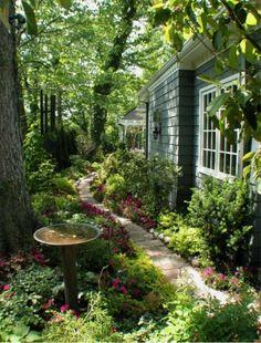 Garden Ideas, Landscaping Ideas, Walkway, Path, Pathway, side Yard, limestone path, shady area, shade garden, RDM Arcitecture
