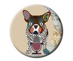 Fridge Magnet French Bull Dog Art , Dog Art Magnet, Gift Idea, 2. 25 inches diameter and 0.25 inches thick $6.25 USD https://www.etsy.com/ca/listing/155829221/fridge-magnet-french-bull-dog-art-dog?ref=shop_home_active