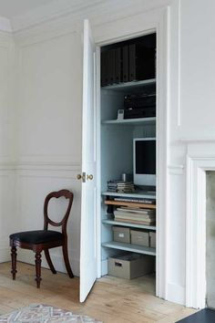Study Painted In Farrow & Ball All White And Light Blue Best White Paint, All White, White Paints, Farrow Ball, Interior Architecture, Interior And Exterior, Interior Design, Top Paint Colors, Craft Rooms