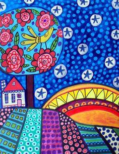 Landscape Modern Folk by HeatherGallerArt Art Folder, Retro Background, Southwest Art, Art Programs, Arte Pop, Naive Art, Mexican Folk Art, Art Plastique, Art Techniques