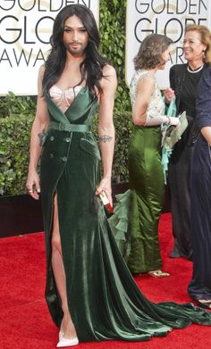 divine green velvet coat dress worn by Conchita Wurst at Golden Globes Conchita Wurst Eurovision, French Maid Dress, Good Woman Quotes, Bearded Lady, Fabulous Dresses, Models, Coat Dress, Formal Gowns, Amazing Women