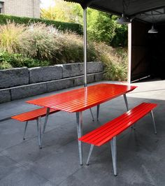 metal outdoor furniture from Metall Werk Zurich, design from Samuel Fausch