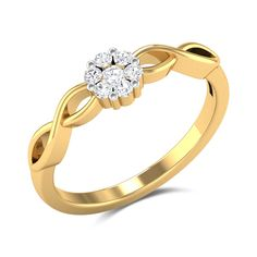 Edana Diamond Studded Gold Ring