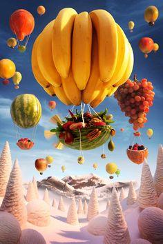 """Food Art Photography by Carl Warner """"Banana Ballon"""""""