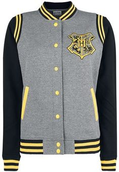 """- Embroidery on the front - Back print - Ribbed hem - Roughened inside - Side slit pockets - Mandarin collar - Colour-contrast sleeves - Press stud placket New must-have gear for Harry Potter fans: Snag an eye-catching piece of leisurewear with this grey/black/yellow 'Hufflepuff 07' varsity jacket. The front is embroidered with the Hogwarts motif, while the back is printed with """"Hufflepuff"""" and the number """"07"""". The ribbed cuffs and hem come in contrasti..."""