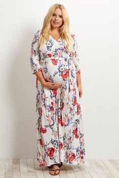 91acd9ef1e9f Plus Size Maternity Maxi Dress - Maternity Plus Size Maxi Dresses in Bold  Colors -