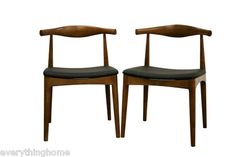 2 DANISH ELBOW WALNUT ACCENT DINING OFFICE CHAIRS SOLID WOOD MID-CENTURY MODERN