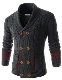 Mens Slim Double Breasted Twist Shawl Collar Knitted 8 Button Cardigan