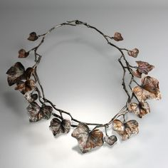 Leaf necklace with twig collar (silver + antique patina) nature-inspired jewellery design // Gabriella Kiss