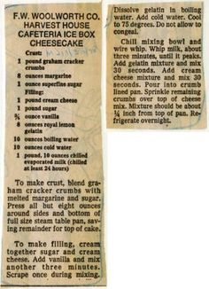 F.W. Woolworth Co. Harvest House Cafeteria Ice Box Cheesecake :: Historic Recipe