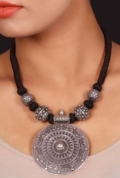 Silver tribal thread necklace