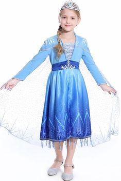 Kids Girls Princess Queen Elsa Costume Party Birthday Fancy Dress Up Outfit Cape Fancy Costumes, Dress Up Costumes, Cosplay Dress, Frozen 2 Elsa Dress, Princess Elsa Dress, Princess Costumes For Girls, Anna Et Elsa, Photos Booth, Fancy Dress Up