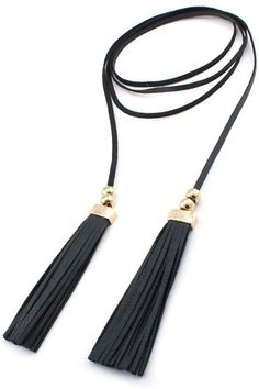 Faux Leather Tassel Double Wrap Choker Necklace - Black / Gold - Dempsey & Gazelle