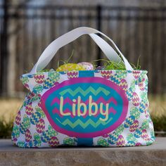 Multi Color Easter Eggs Chevron Easter Basket – Lolly Wolly Doodle