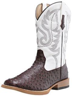 new products 52ca8 38441 Amazon.com  Roper Men s Ostrich Print Square Toe Cowboy Boot Black Faux  Leather Western Stitch 7 D - Medium  Shoes