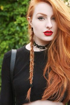 Single side braid and waves..  I love this hairstyle and color! #redhead