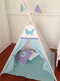 Aqua and purple pastle Tepee/ teepee including by NestNFeather Nest, Toddler Bed, Feather, Aqua, Purple, Room, Ideas, Home Decor, Manualidades
