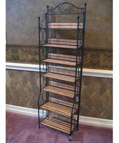 Wrought Iron and Wood Storage Shelf & Oakland Living 60.25-In Black Corner Wrought Iron Plant Stand 5198 ...