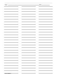 Ruled Paper with Three Columns